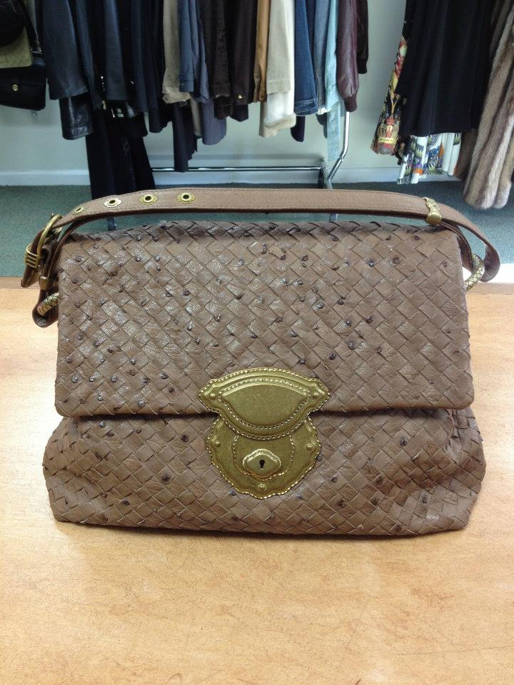 Bottega Veneta ostrich woven handbag $1479, at Englewood NJ store